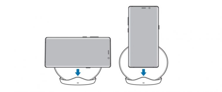 Wireless charger for Samsung Galaxy S9 found in the user manual