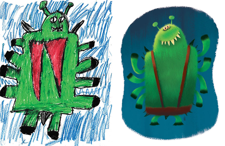 Professional Artists Recreate Kids Monster Doodles In Their Own Style And They Look Adorable