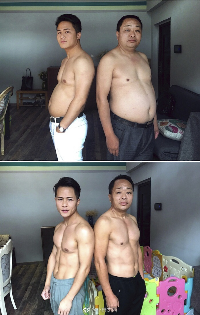 Before-And-After Pics Of This Chinese Family Who Spent 6 Months Working Out