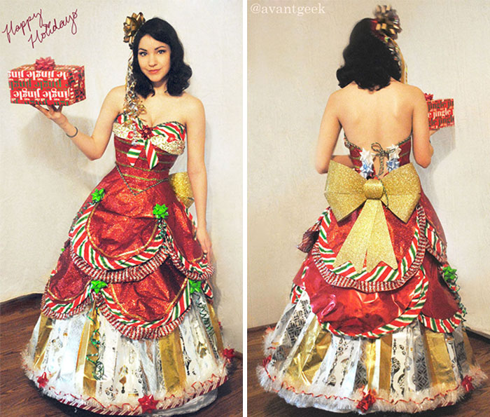 This Designer Has Been Making Dresses From Wrapping Paper For a Few Years Now After The Holiday Season Gets Over
