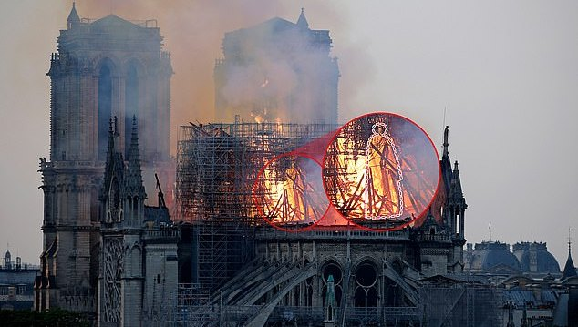 Social media is awash with people saying they can see Jesus in the flames of Notre Dame after mother 'spots it in photograph'