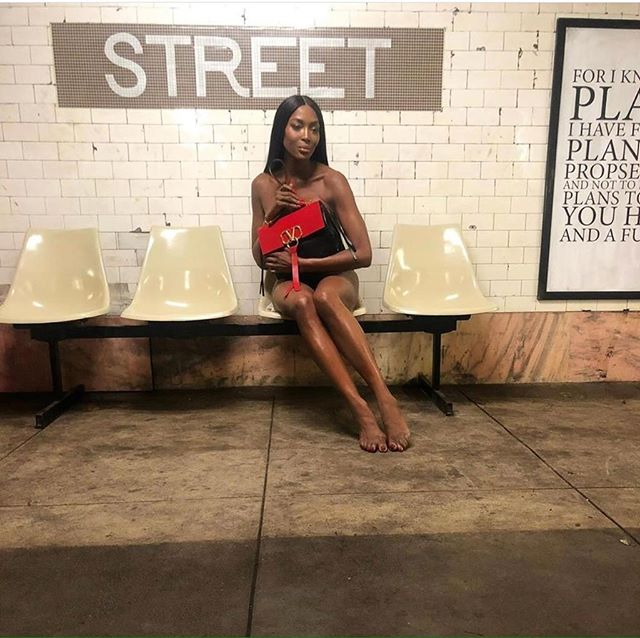 Naomi Campbell Rides the Subway Naked!