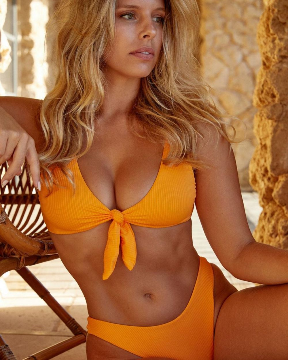 Natasha Oakley Looking Busty in a Yellow Bikini!