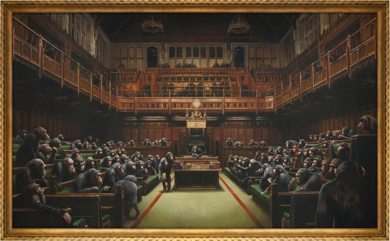 Banksy's Devolved Parliament sells for record $12.2 million