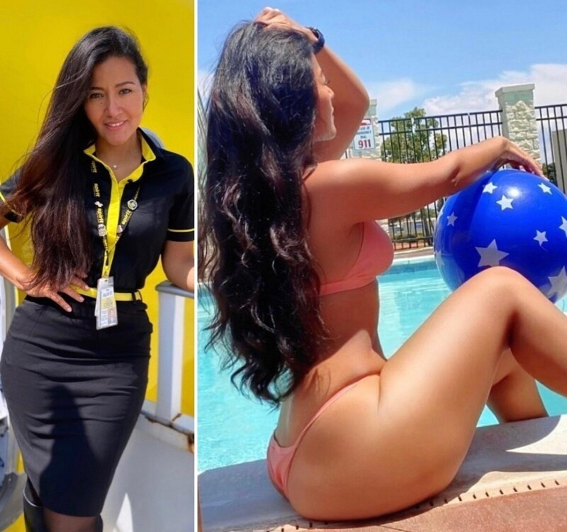 Hot Flight Attendants In And Out Uniform (35 Photos + 1 GIFs)